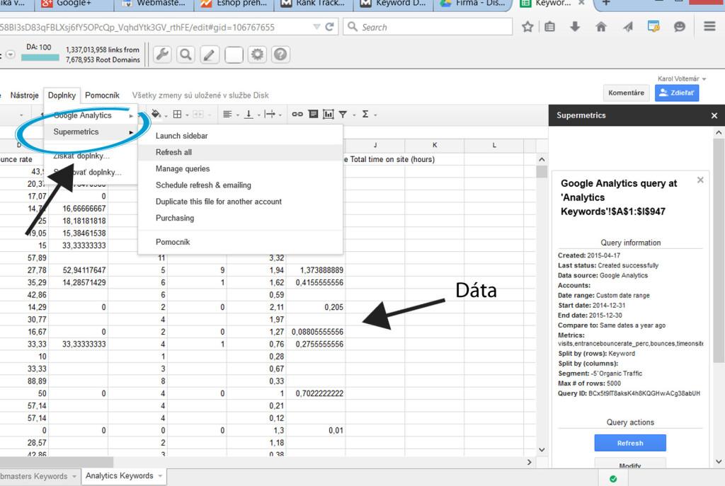 Automatická integrácia Google Sheets a Google Analytics prostredníctvom Supermetrics