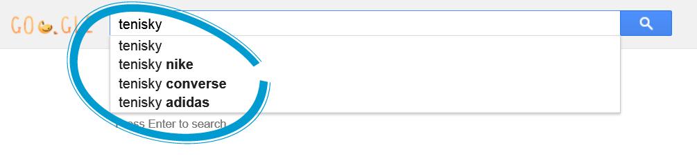 Našepkávač Google - Google Suggest