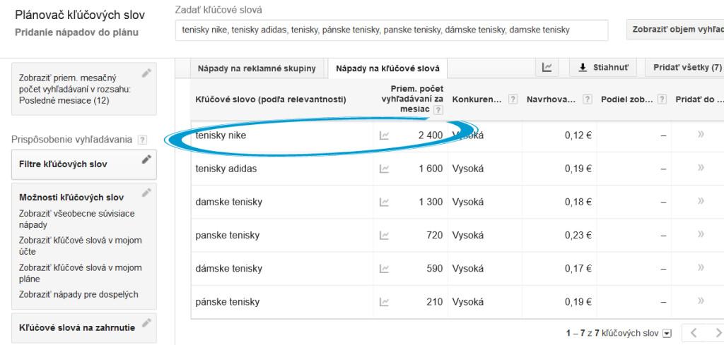 Hľadanosť kľúčových slov v Google Keyword Planner
