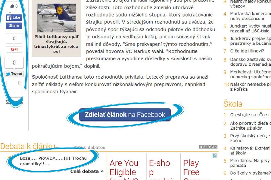 Sociálne siete na webovej stránke Pravdy