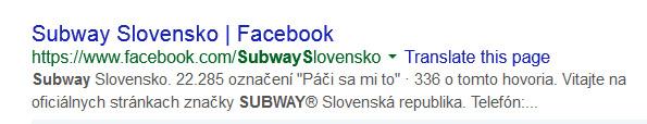 Google výsledky vyhľadávania Subway Slovensko